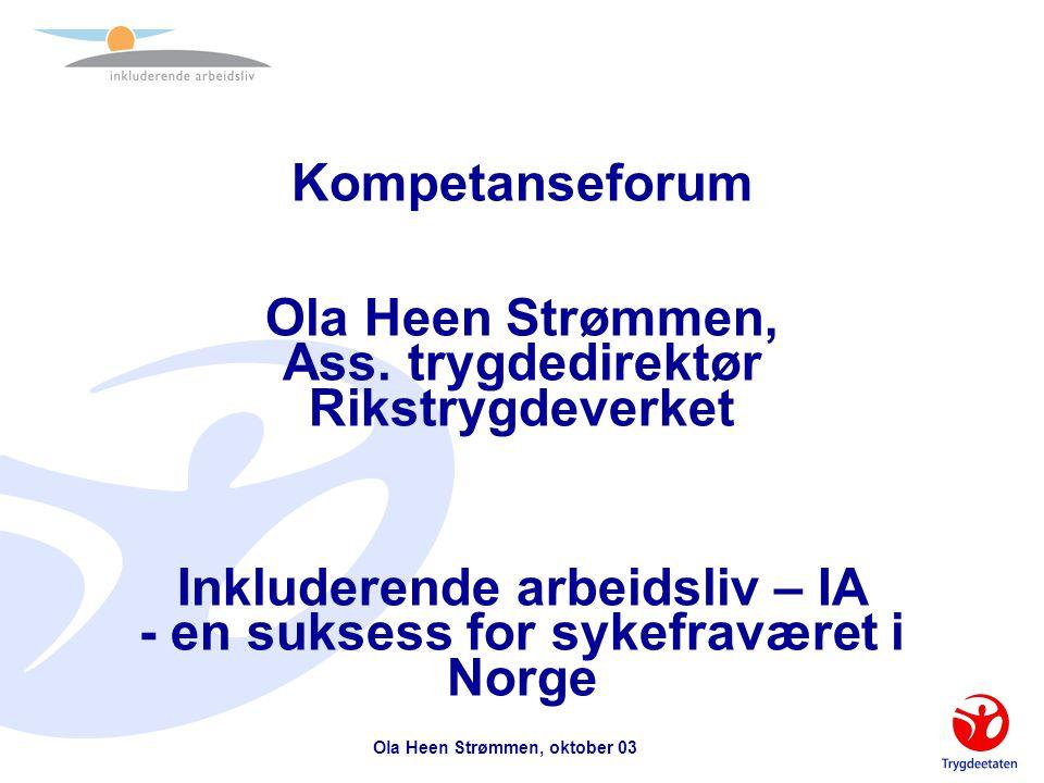Ola Heen Strømmen, oktober 03 Arbeidsgiverutfordringer  Lederne og deres kompetanse på –å lede mennesker –å utvikle arbeidsmiljøet –å utvikle medarbeiderne –ha kunnskaper om virkemidler og metoder