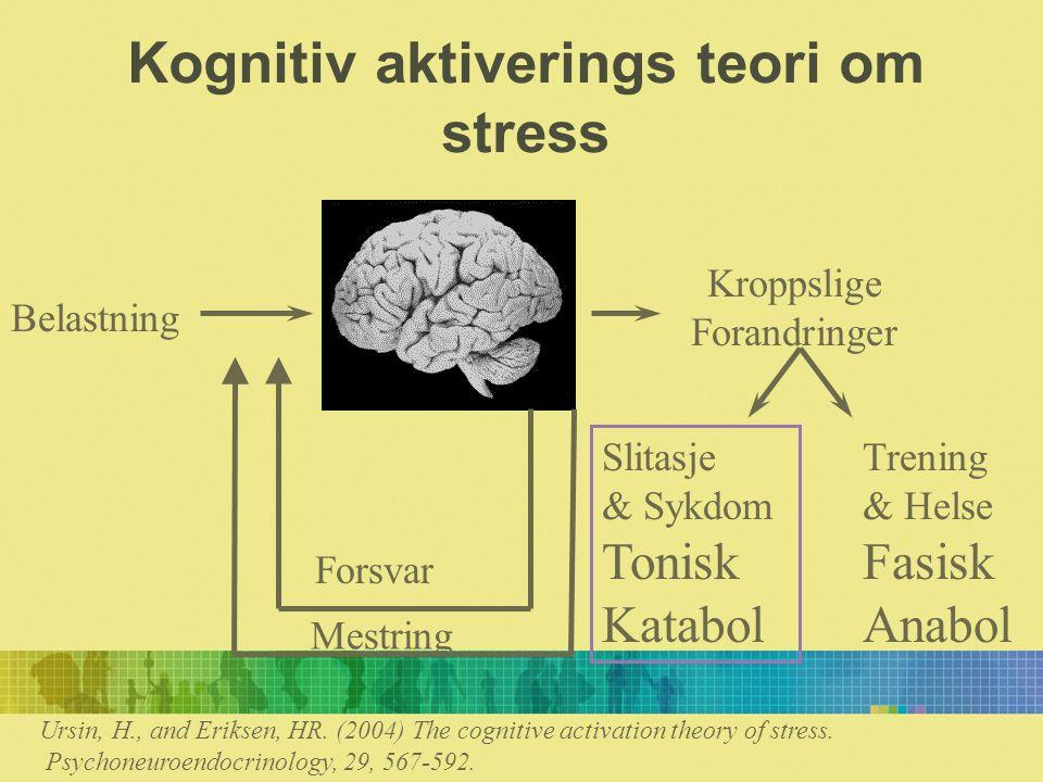 Kognitiv aktiverings teori om stress Belastning Kroppslige Forandringer Slitasje & Sykdom Tonisk Katabol Trening & Helse Fasisk Anabol Forsvar Mestring Ursin, H., and Eriksen, HR.