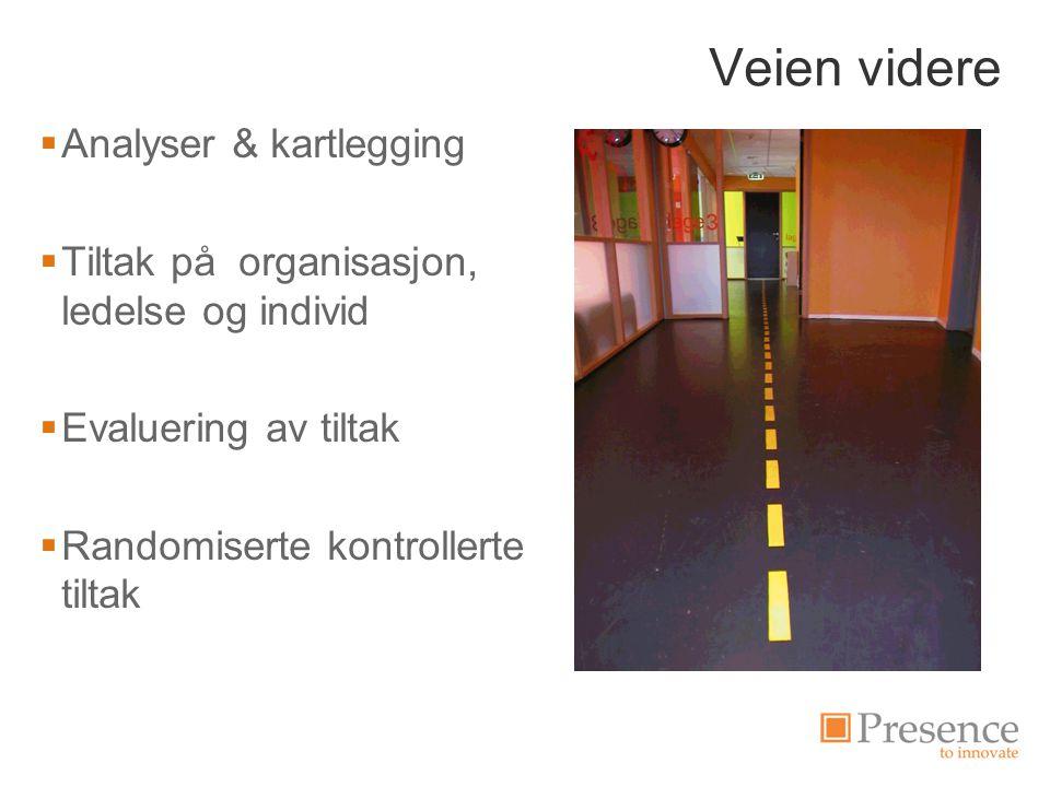 Veien videre  Analyser & kartlegging  Tiltak på organisasjon, ledelse og individ  Evaluering av tiltak  Randomiserte kontrollerte tiltak