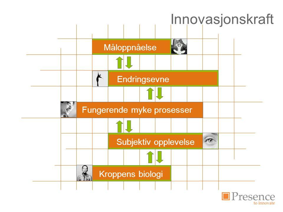 Innovasjonskraft Organisation i förändring Måluppfyllelse Kroppens biologi Subjektiv opplevelse Fungerende myke prosesser Endringsevne Måloppnåelse