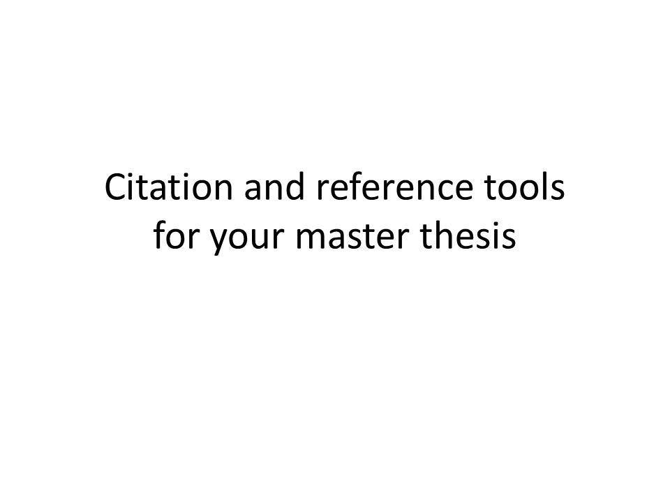 Verktøy for å håndtere siteringer og referanser i masteroppgaven