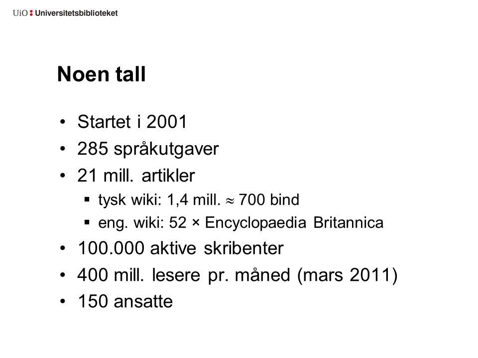 Noen tall Startet i 2001 285 språkutgaver 21 mill.