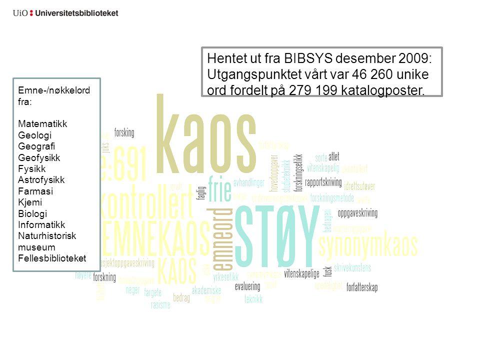 Hentet ut fra BIBSYS desember 2009: Utgangspunktet vårt var 46 260 unike ord fordelt på 279 199 katalogposter. Emne-/nøkkelord fra: Matematikk Geologi