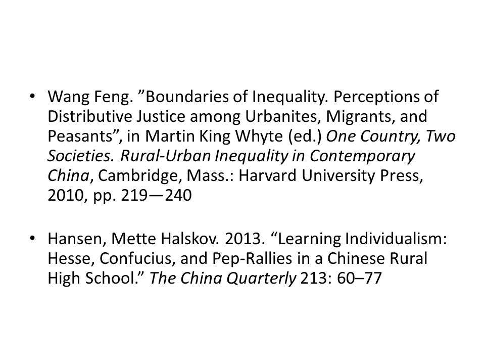 Wang Feng. Boundaries of Inequality.