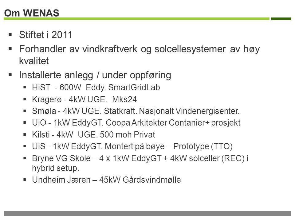Om WENAS  Stiftet i 2011  Forhandler av vindkraftverk og solcellesystemer av høy kvalitet  Installerte anlegg / under oppføring  HiST - 600W Eddy.