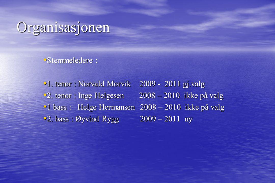 Stemmeledere : Stemmeledere : 1. tenor : Norvald Morvik 2009 - 2011 gj.valg 1. tenor : Norvald Morvik 2009 - 2011 gj.valg 2. tenor : Inge Helgesen 200