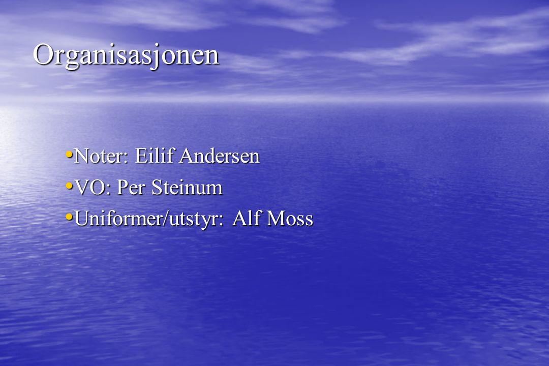 Noter: Eilif Andersen Noter: Eilif Andersen VO: Per Steinum VO: Per Steinum Uniformer/utstyr: Alf Moss Uniformer/utstyr: Alf Moss Organisasjonen