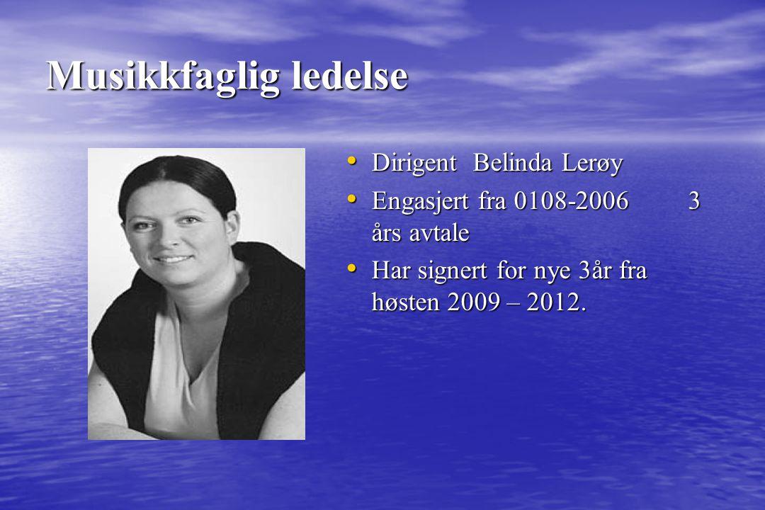Musikkfaglig ledelse Dirigent Belinda Lerøy Dirigent Belinda Lerøy Engasjert fra 0108-2006 3 års avtale Engasjert fra 0108-2006 3 års avtale Har signe