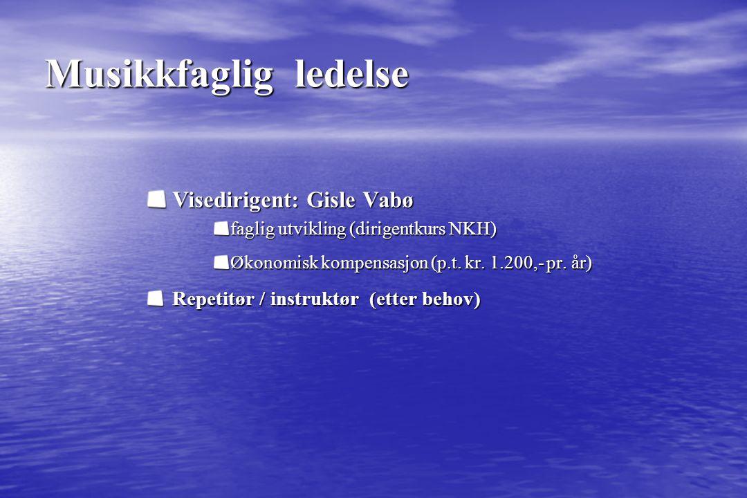Musikkfaglig ledelse Visedirigent: Gisle Vabø faglig utvikling (dirigentkurs NKH) Økonomisk kompensasjon (p.t. kr. 1.200,- pr. år) Repetitør / instruk
