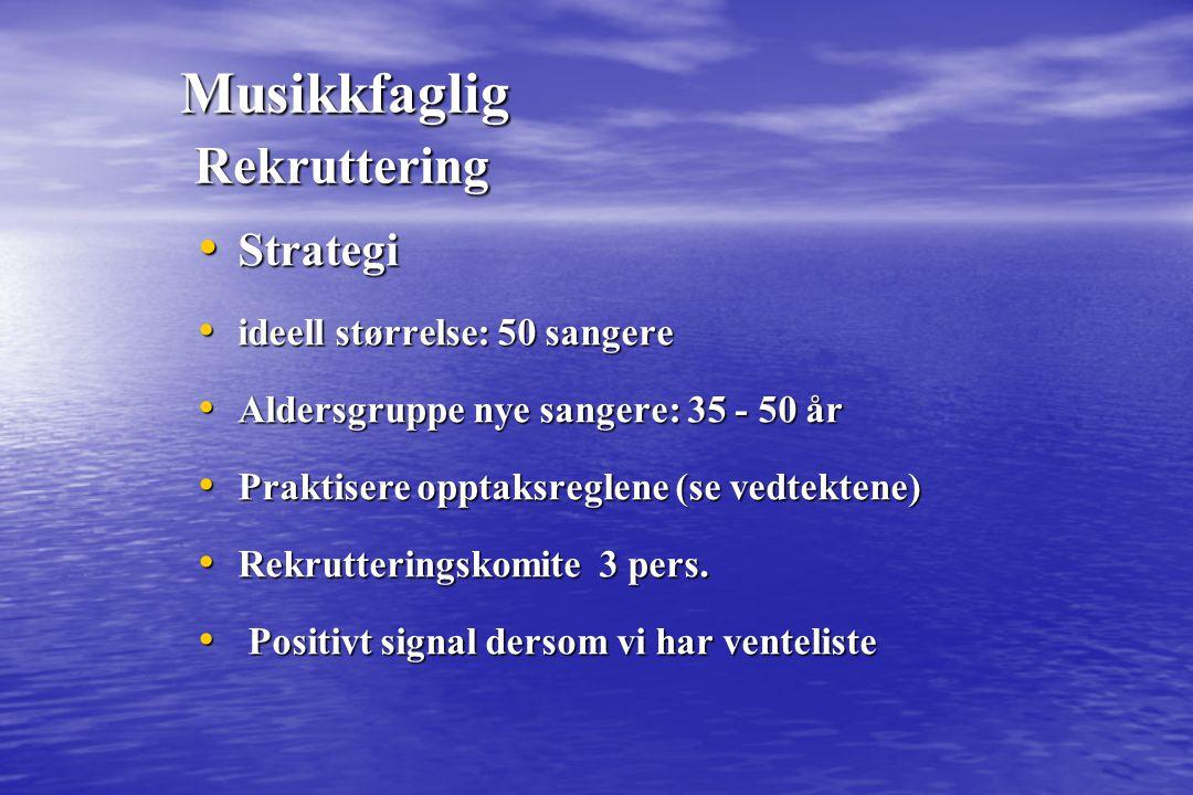 Musikkfaglig Rekruttering Strategi Strategi ideell størrelse: 50 sangere ideell størrelse: 50 sangere Aldersgruppe nye sangere: 35 - 50 år Aldersgrupp