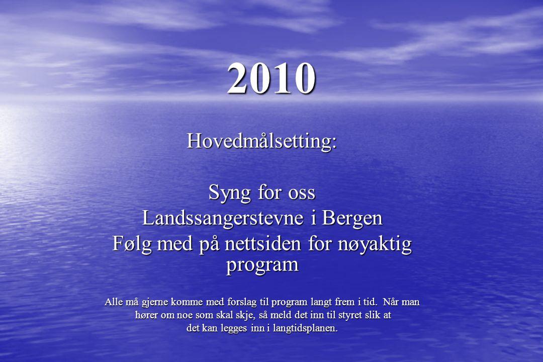 2010 Hovedmålsetting: Syng for oss Landssangerstevne i Bergen Følg med på nettsiden for nøyaktig program Alle må gjerne komme med forslag til program