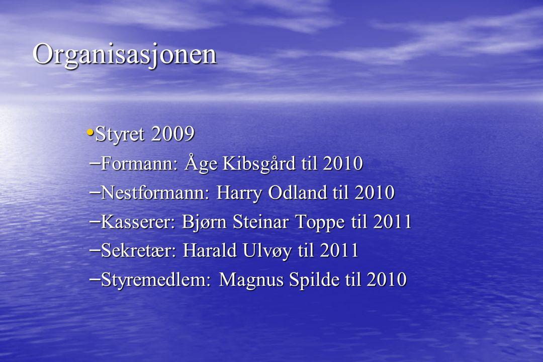 Styret 2009 Styret 2009 – Formann: Åge Kibsgård til 2010 – Nestformann: Harry Odland til 2010 – Kasserer: Bjørn Steinar Toppe til 2011 – Sekretær: Har