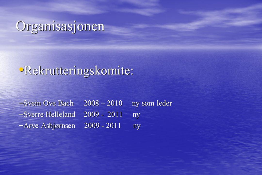 Rekrutteringskomite: Rekrutteringskomite: – Svein Ove Bach 2008 – 2010 ny som leder – Sverre Helleland 2009 - 2011 ny – Arve Asbjørnsen 2009 - 2011 ny