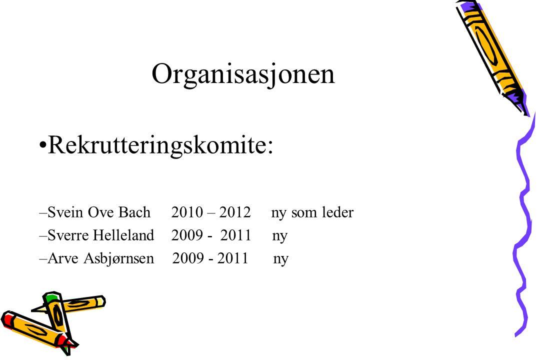 Rekrutteringskomite: –Svein Ove Bach 2010 – 2012 ny som leder –Sverre Helleland 2009 - 2011 ny –Arve Asbjørnsen 2009 - 2011 ny Organisasjonen
