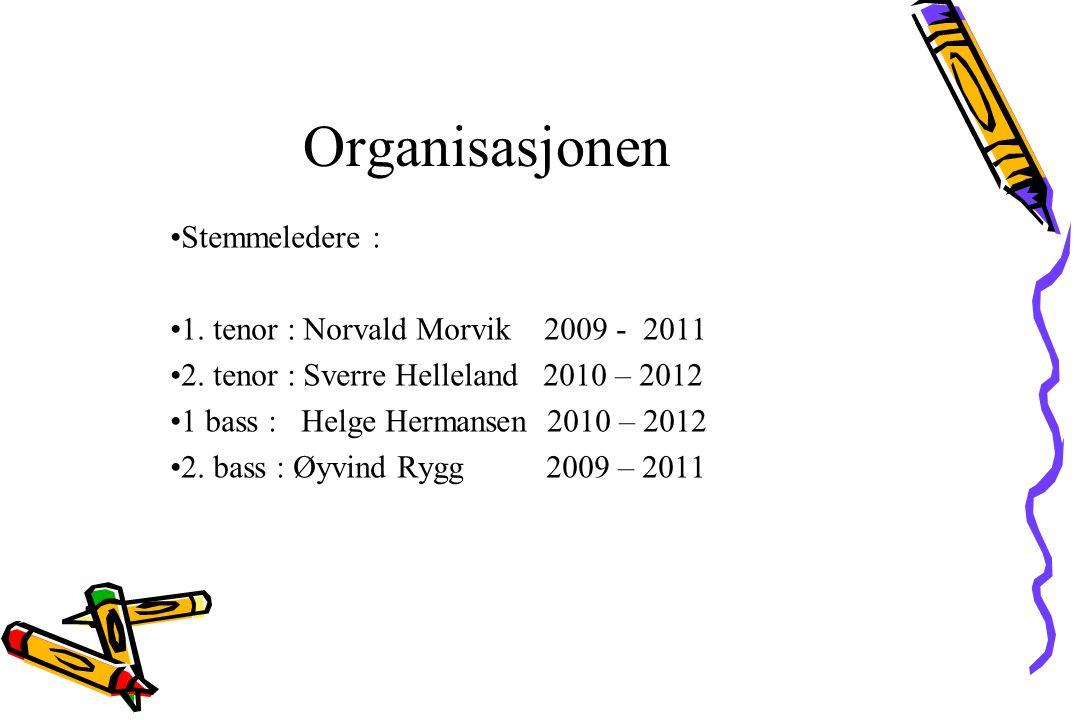 Stemmeledere : 1. tenor : Norvald Morvik 2009 - 2011 2. tenor : Sverre Helleland 2010 – 2012 1 bass : Helge Hermansen 2010 – 2012 2. bass : Øyvind Ryg