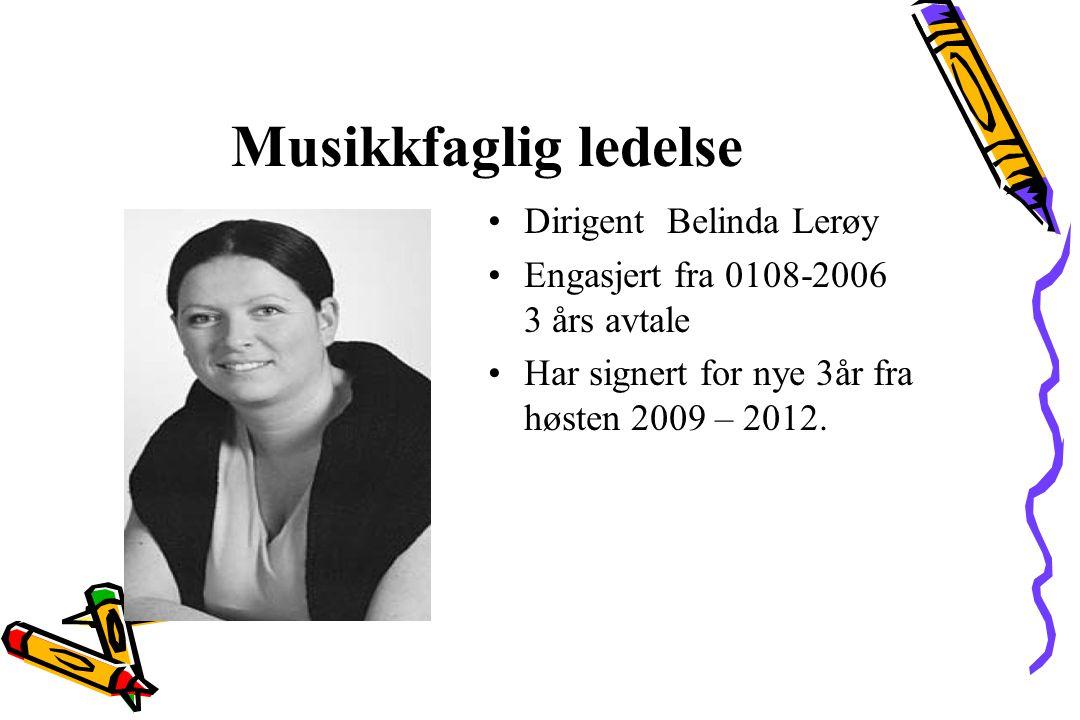 Musikkfaglig ledelse Dirigent Belinda Lerøy Engasjert fra 0108-2006 3 års avtale Har signert for nye 3år fra høsten 2009 – 2012.