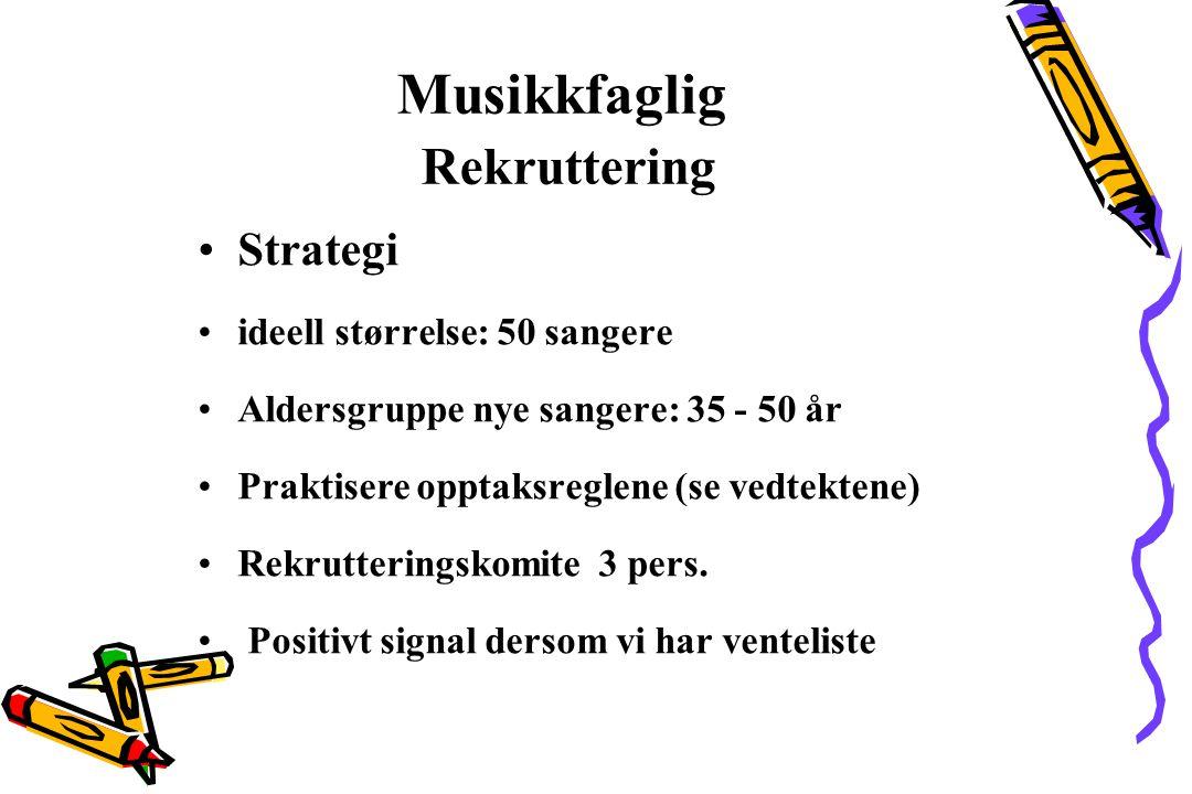 Musikkfaglig Rekruttering Strategi ideell størrelse: 50 sangere Aldersgruppe nye sangere: 35 - 50 år Praktisere opptaksreglene (se vedtektene) Rekrutt
