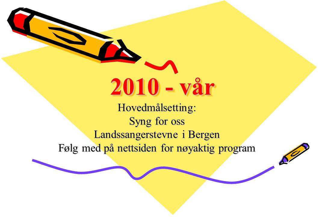 2010 - vår Hovedmålsetting: Syng for oss Landssangerstevne i Bergen Følg med på nettsiden for nøyaktig program