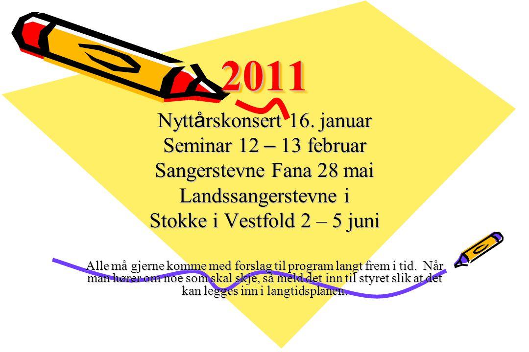 20112011 Nytt å rskonsert 16. januar Seminar 12 – 13 februar Sangerstevne Fana 28 mai Landssangerstevne i Stokke i Vestfold 2 – 5 juni Alle må gjerne