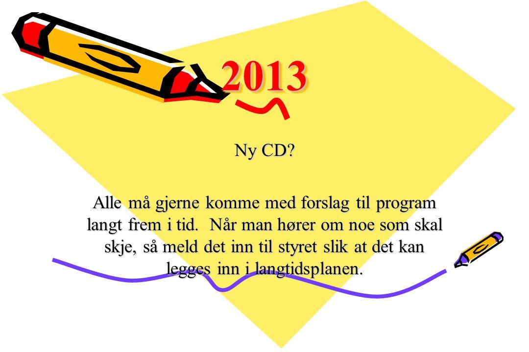20132013 Ny CD? Alle må gjerne komme med forslag til program langt frem i tid. Når man hører om noe som skal skje, så meld det inn til styret slik at