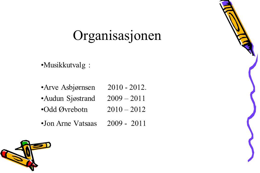 Musikkutvalg : Arve Asbjørnsen 2010 - 2012. Audun Sjøstrand 2009 – 2011 Odd Øvrebotn 2010 – 2012 Jon Arne Vatsaas 2009 - 2011 Organisasjonen