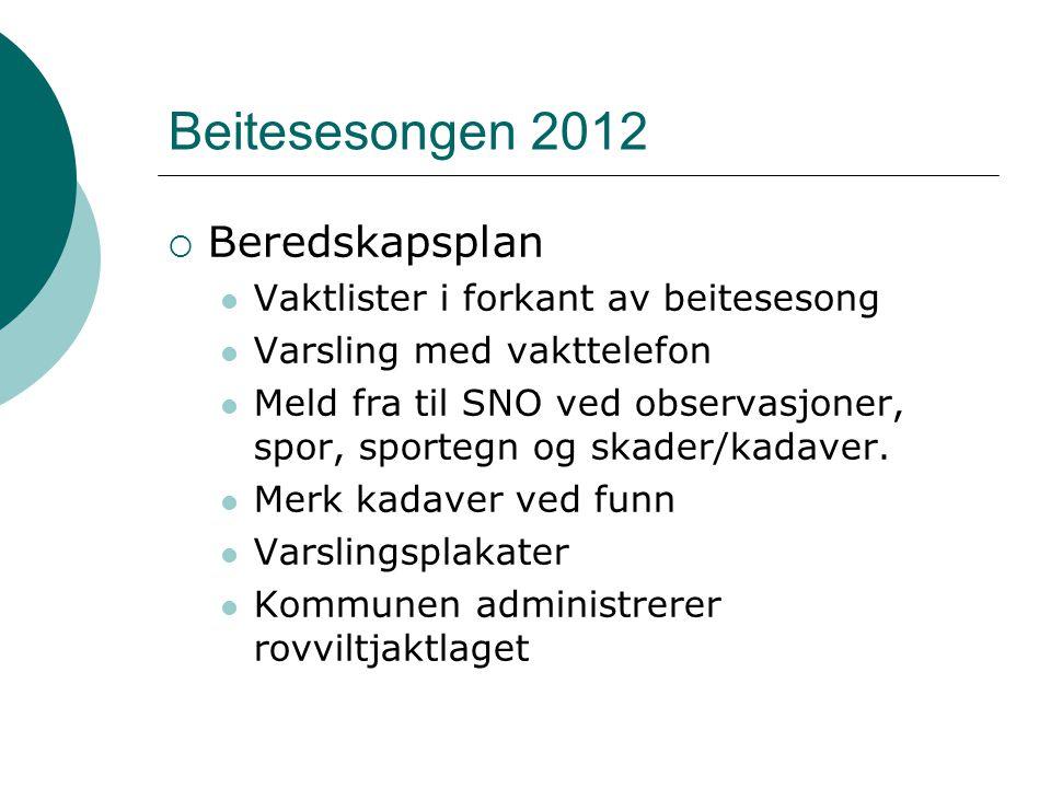 Beitesesongen 2012  Beredskapsplan Vaktlister i forkant av beitesesong Varsling med vakttelefon Meld fra til SNO ved observasjoner, spor, sportegn og skader/kadaver.
