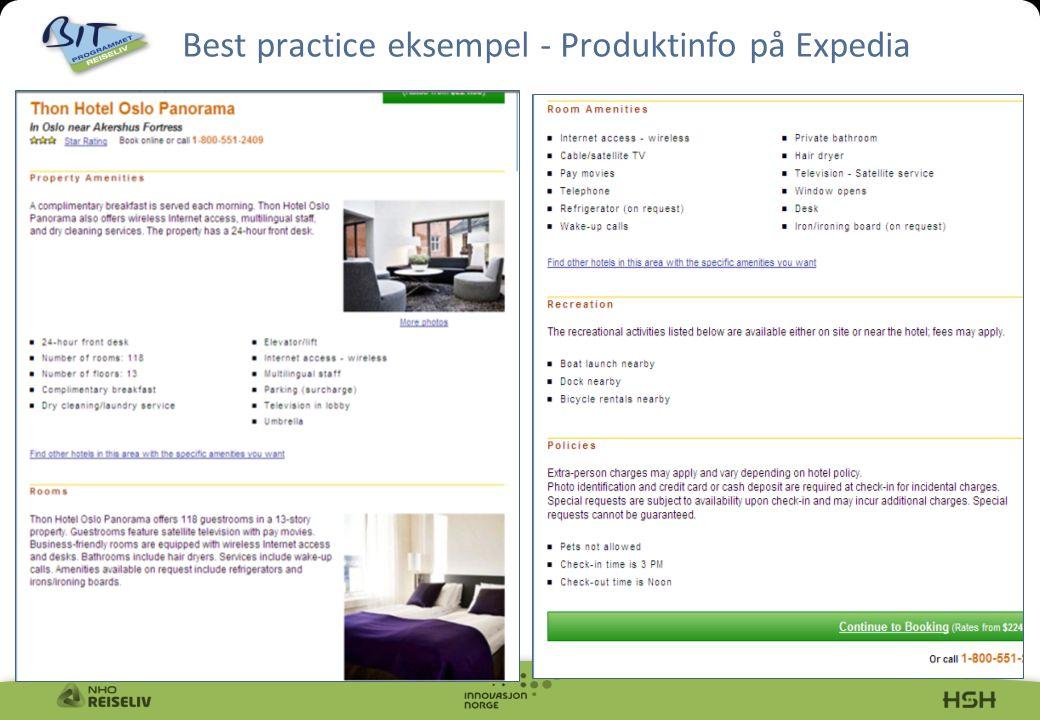 10 Best practice eksempel - Produktinfo på Expedia