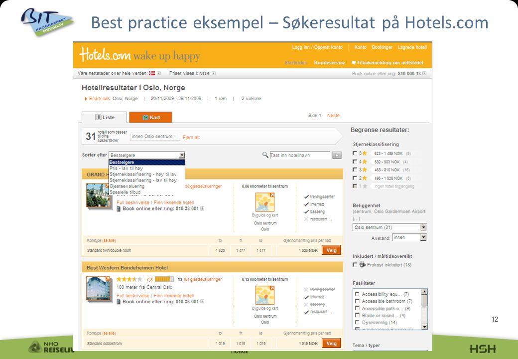 12 Best practice eksempel – Søkeresultat på Hotels.com