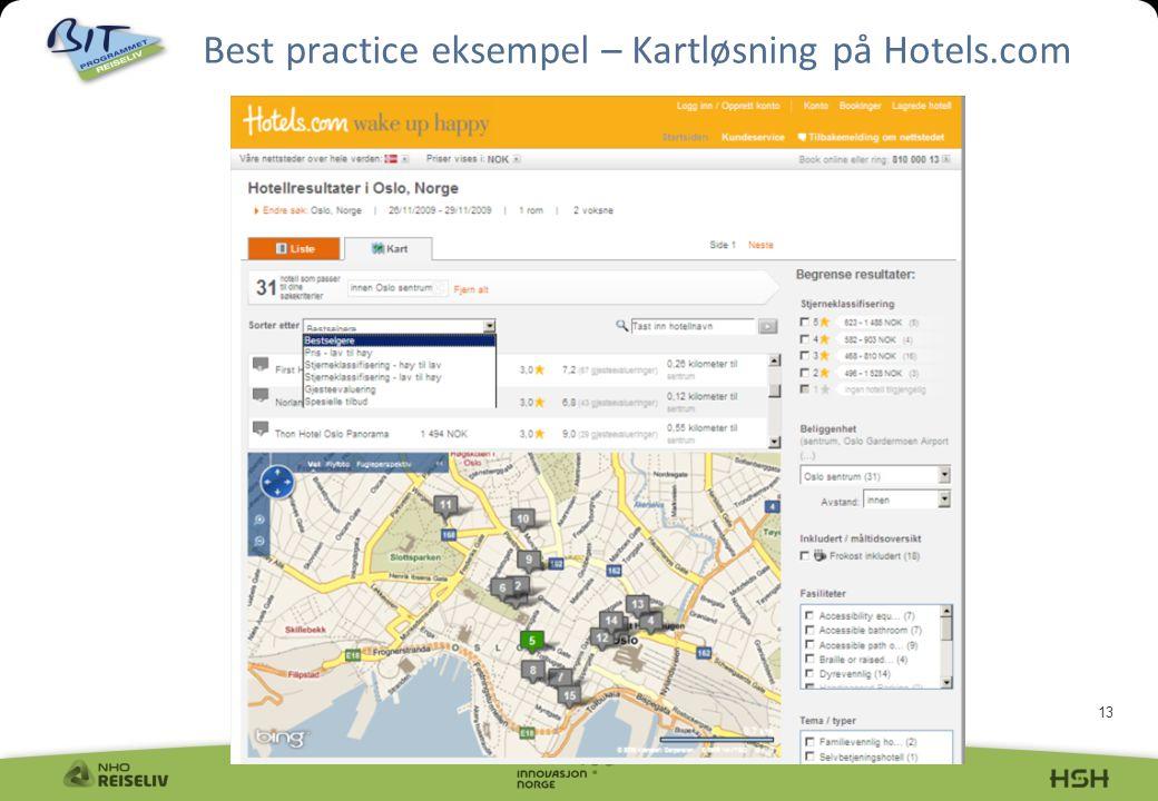 13 Best practice eksempel – Kartløsning på Hotels.com