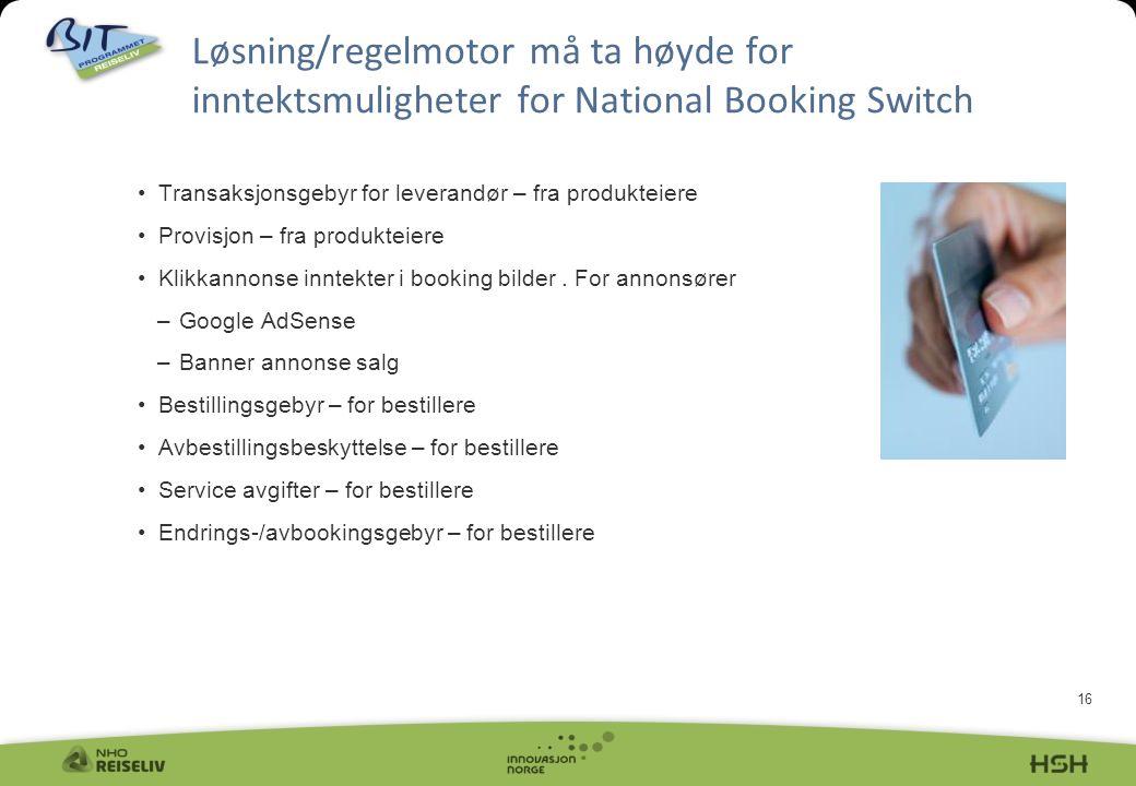 16 Løsning/regelmotor må ta høyde for inntektsmuligheter for National Booking Switch Transaksjonsgebyr for leverandør – fra produkteiere Provisjon – fra produkteiere Klikkannonse inntekter i booking bilder.