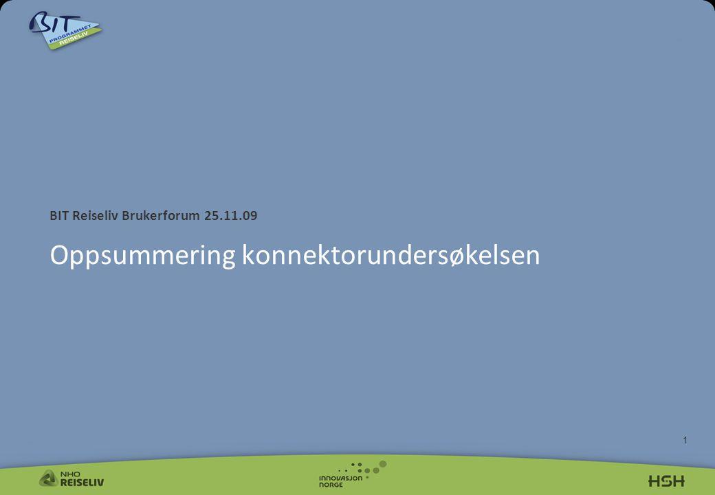 1 BIT Reiseliv Brukerforum 25.11.09 Oppsummering konnektorundersøkelsen