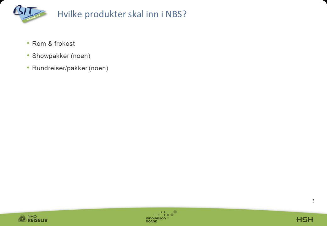 3 Hvilke produkter skal inn i NBS? Rom & frokost Showpakker (noen) Rundreiser/pakker (noen)