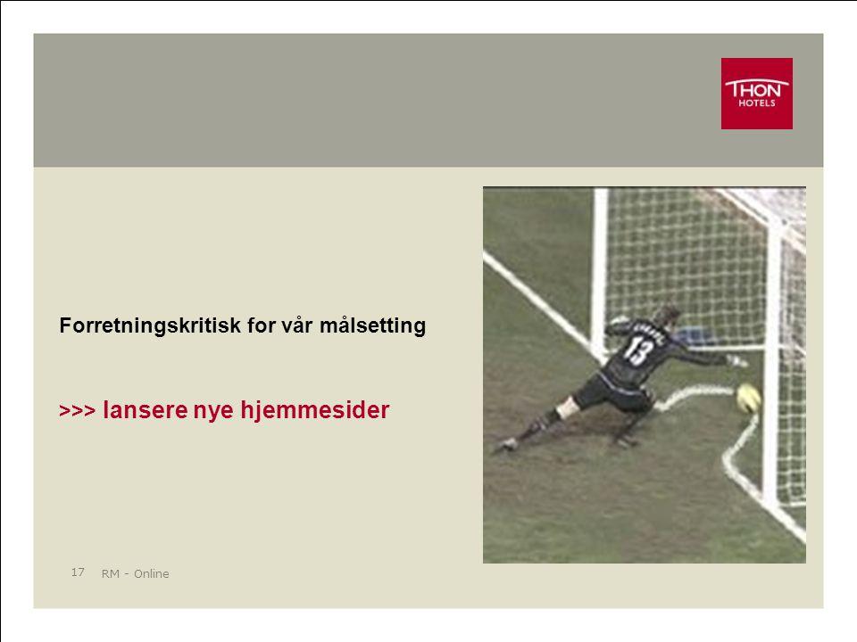 RM - Online 17 Forretningskritisk for vår målsetting >>> lansere nye hjemmesider