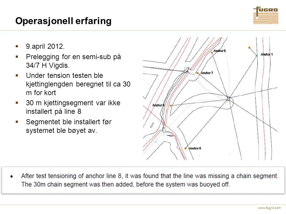 www.fugro.com Operasjonell erfaring  9.april 2012.  Prelegging for en semi-sub på 34/7 H Vigdis.  Under tension testen ble kjettinglengden beregnet