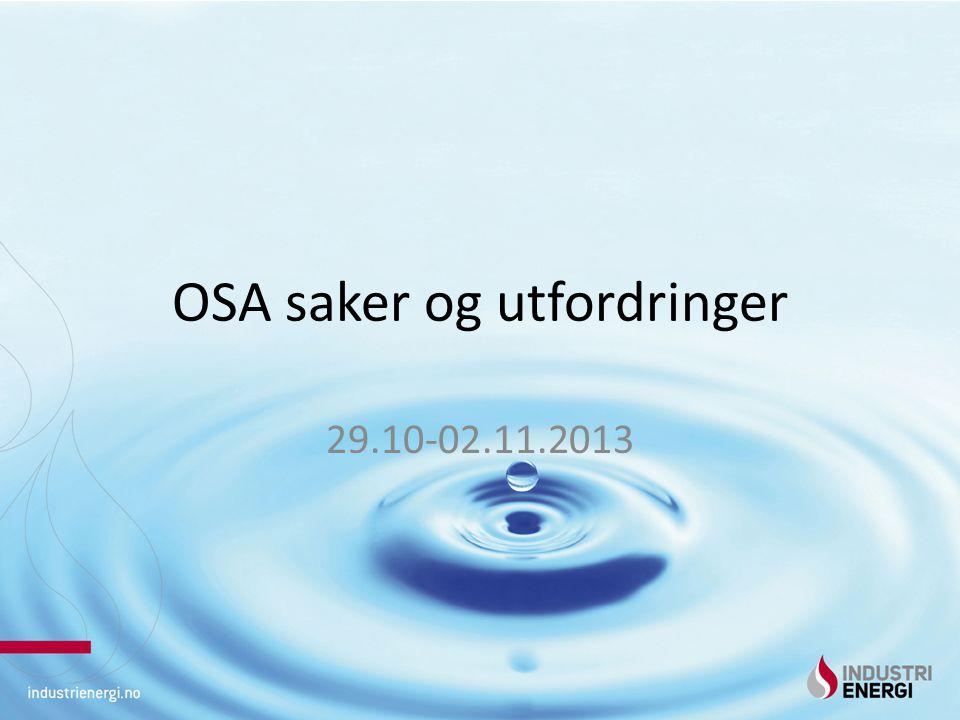 OSA saker og utfordringer 29.10-02.11.2013