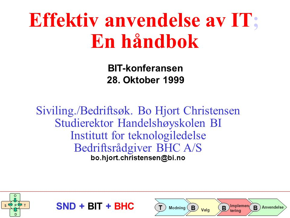 Implemen- tering Valg Anvendelse Modning T B B B S O T D P SND + BIT + BHC Valg- fasen Implementerings- fasen Anvendelses- fasen Akkumulert kost/nytte Tid - Konsulenthjelp - Egen innsats - Kjøp av programvare - Lisenskostnader - Opplæring - Infrastruktur - Konsulenthjelp - Erstatningshjelp - Egen innsats - Produktivitetstap i en overgangsperiode - Vedlikehold - Support - Intern forvaltning/drift Break-even punkt - Tilleggskjøp av programvare - Utvidete lisenser (database mm) - Opplæring av nye medarbeidere + Effektivisering + Økt salg + Salg man unngår å tape + Lavere kapitalbinding + Lavere tap på fordringer + Redusert kredittid År 1År 2 År 3År 4År 5 Prosjektets økonomiske utvikling R