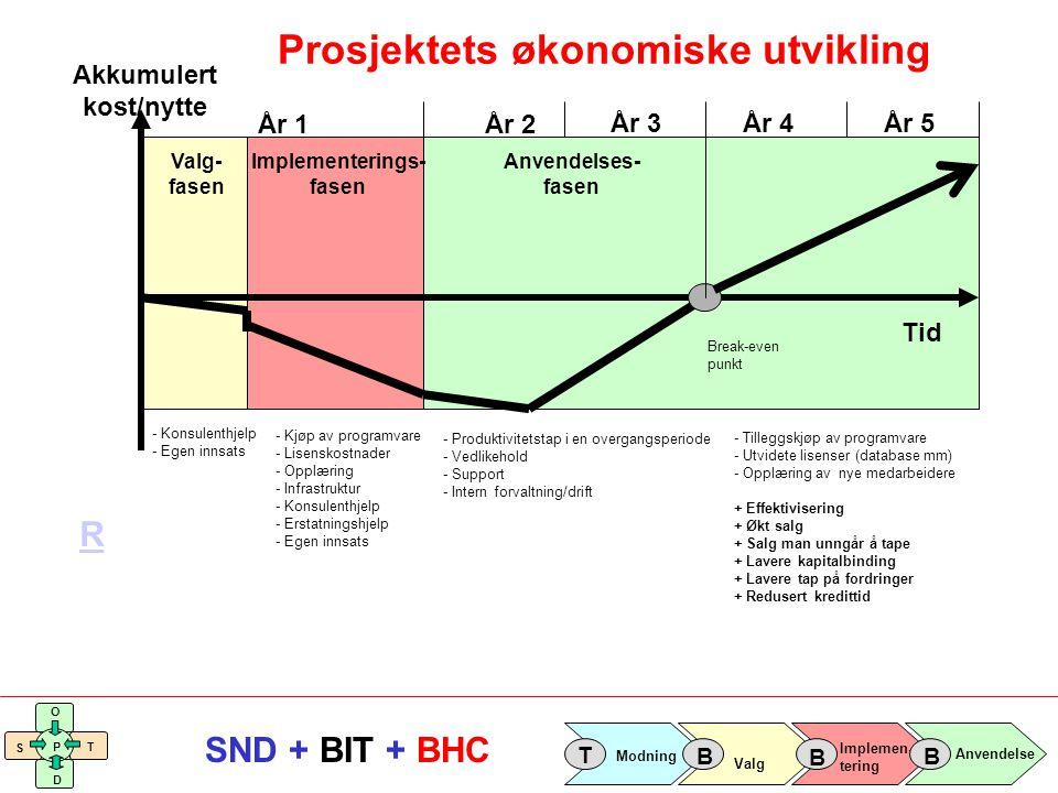 Implemen- tering Valg Anvendelse Modning T B B B S O T D P SND + BIT + BHC Valg- fasen Implementerings- fasen Anvendelses- fasen Akkumulert kost/nytte