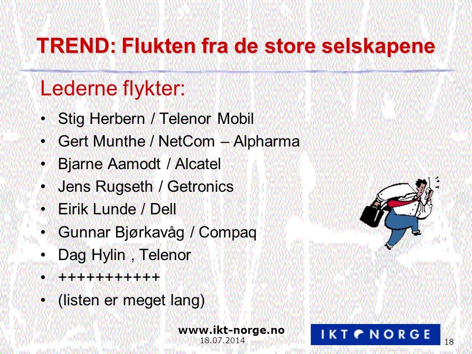www.ikt-norge.no 18 18.07.2014 TREND: Flukten fra de store selskapene Stig Herbern / Telenor Mobil Gert Munthe / NetCom – Alpharma Bjarne Aamodt / Alcatel Jens Rugseth / Getronics Eirik Lunde / Dell Gunnar Bjørkavåg / Compaq Dag Hylin, Telenor +++++++++++ (listen er meget lang) Lederne flykter:
