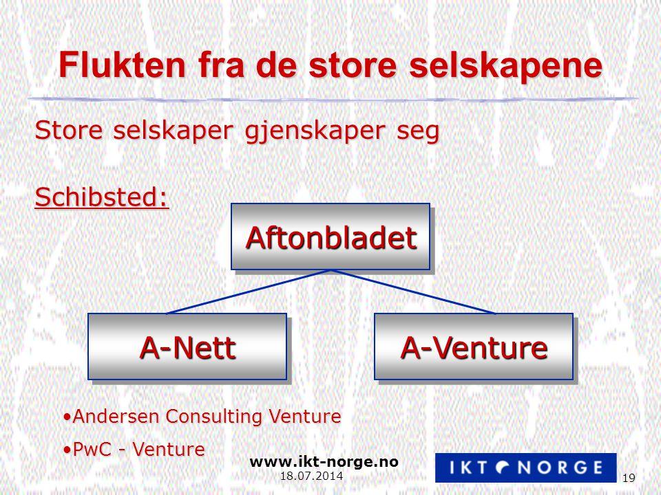 www.ikt-norge.no 19 18.07.2014 Flukten fra de store selskapene Store selskaper gjenskaper seg Schibsted: AftonbladetAftonbladet A-NettA-NettA-VentureA-Venture Andersen Consulting VentureAndersen Consulting Venture PwC - VenturePwC - Venture