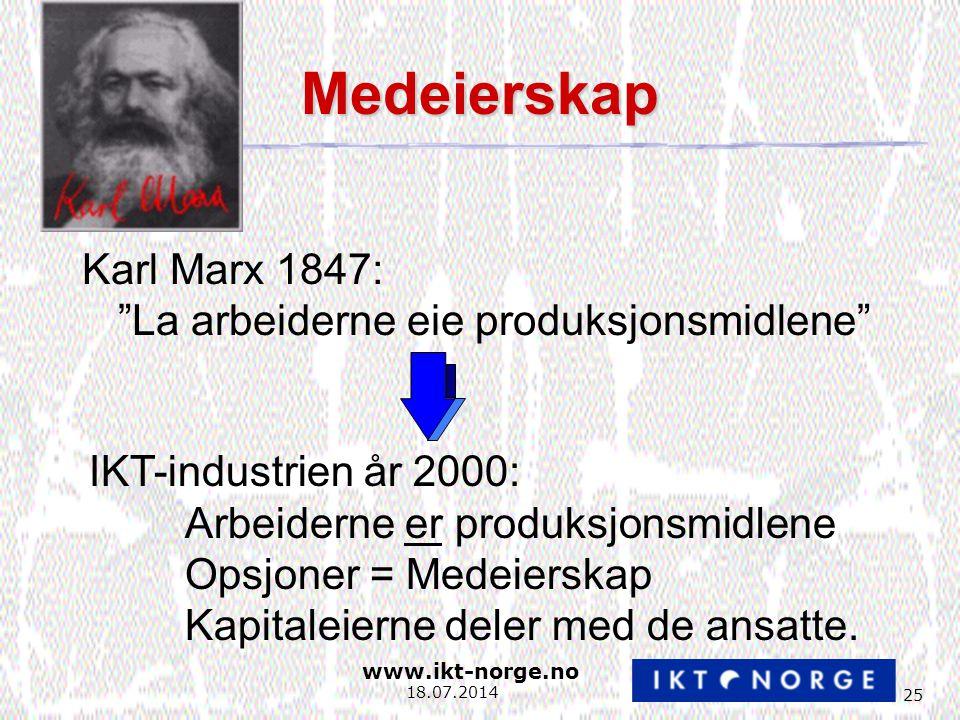 www.ikt-norge.no 25 18.07.2014 Medeierskap Karl Marx 1847: La arbeiderne eie produksjonsmidlene IKT-industrien år 2000: Arbeiderne er produksjonsmidlene Opsjoner = Medeierskap Kapitaleierne deler med de ansatte.