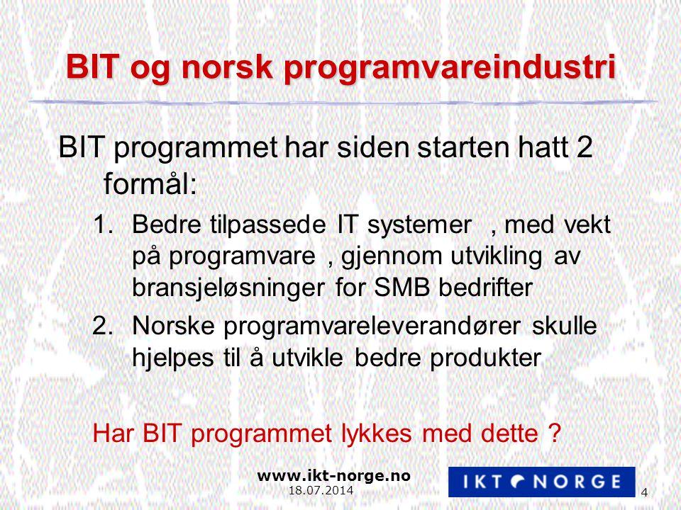 www.ikt-norge.no 4 18.07.2014 BIT og norsk programvareindustri BIT programmet har siden starten hatt 2 formål: 1.Bedre tilpassede IT systemer, med vekt på programvare, gjennom utvikling av bransjeløsninger for SMB bedrifter 2.Norske programvareleverandører skulle hjelpes til å utvikle bedre produkter Har BIT programmet lykkes med dette