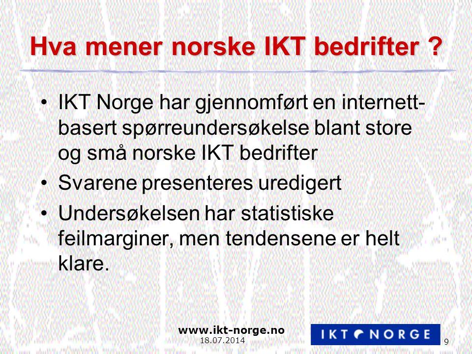www.ikt-norge.no 20 18.07.2014 FoU-innsats lav Spesielt privat sektor