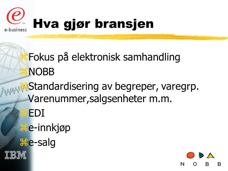 Hva gjør bransjen zFokus på elektronisk samhandling zNOBB zStandardisering av begreper, varegrp.