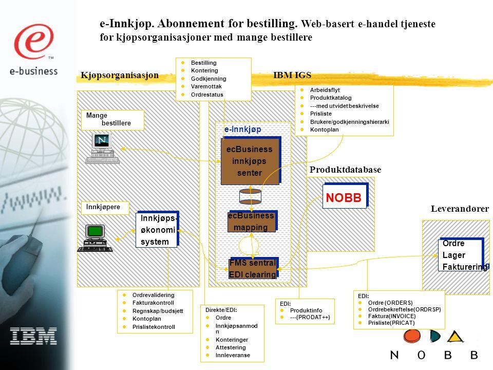e-Innkjøp. Abonnement for bestilling. Web-basert e-handel tjeneste for kjøpsorganisasjoner med mange bestillere Innkjøpere Mange bestillere Leverandør