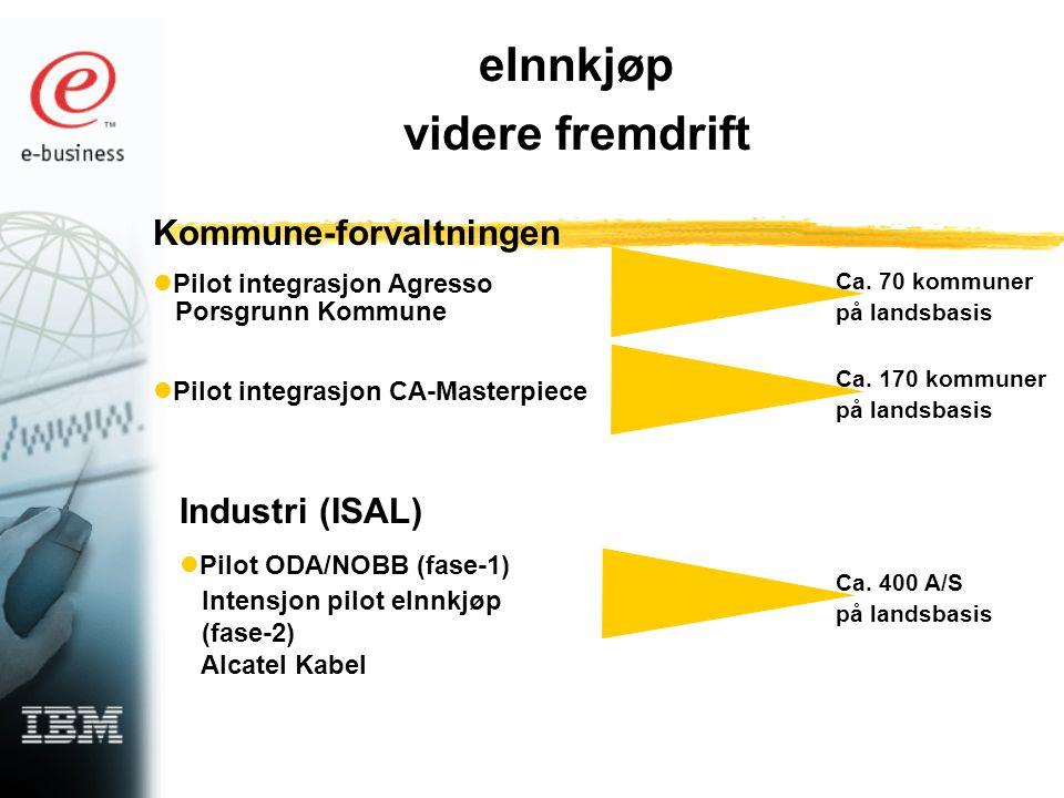 eInnkjøp videre fremdrift Kommune-forvaltningen Pilot integrasjon Agresso Porsgrunn Kommune Pilot integrasjon CA-Masterpiece Industri (ISAL) Pilot ODA/NOBB (fase-1) Intensjon pilot eInnkjøp (fase-2) Alcatel Kabel Ca.