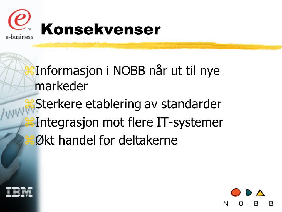 Konsekvenser zInformasjon i NOBB når ut til nye markeder zSterkere etablering av standarder zIntegrasjon mot flere IT-systemer zØkt handel for deltakerne