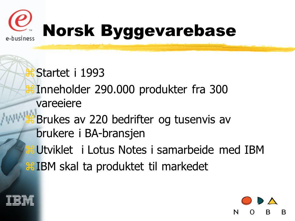 Norsk Byggevarebase zStartet i 1993 zInneholder 290.000 produkter fra 300 vareeiere zBrukes av 220 bedrifter og tusenvis av brukere i BA-bransjen zUtviklet i Lotus Notes i samarbeide med IBM zIBM skal ta produktet til markedet
