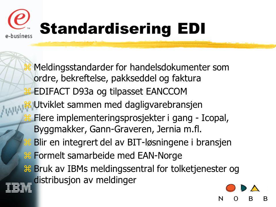 Standardisering EDI zMeldingsstandarder for handelsdokumenter som ordre, bekreftelse, pakkseddel og faktura zEDIFACT D93a og tilpasset EANCCOM zUtviklet sammen med dagligvarebransjen zFlere implementeringsprosjekter i gang - Icopal, Byggmakker, Gann-Graveren, Jernia m.fl.