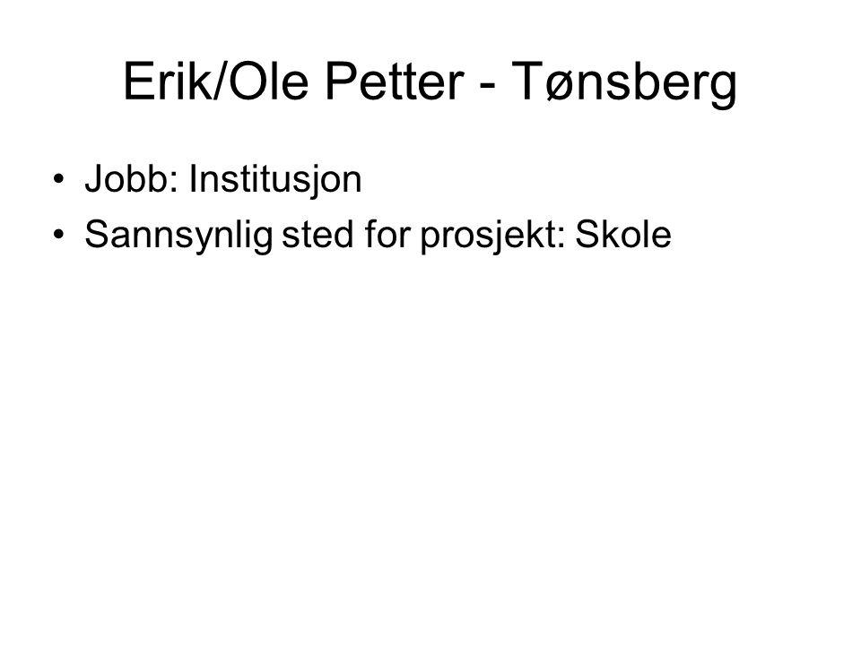 Erik/Ole Petter - Tønsberg Jobb: Institusjon Sannsynlig sted for prosjekt: Skole