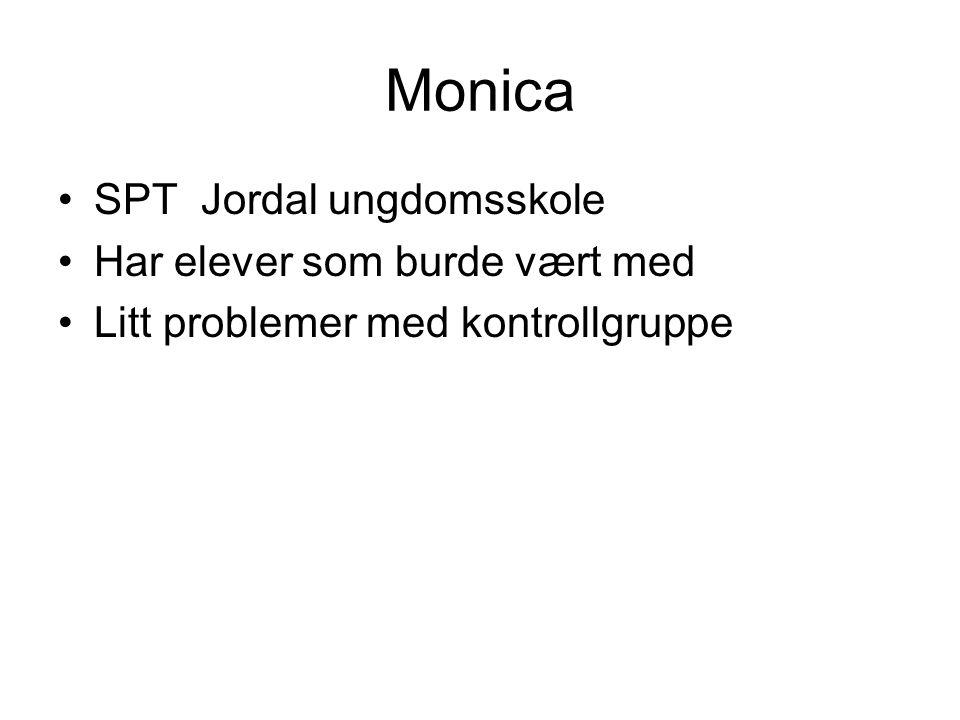 Monica SPT Jordal ungdomsskole Har elever som burde vært med Litt problemer med kontrollgruppe